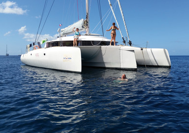 The Caribbean on a cruising trimaran, nothing but fun!