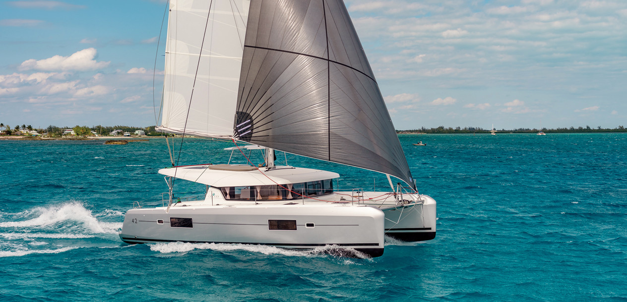 The 42 caused a stir during its first tests in the Bahamas, with top speeds of 16 knots under gennaker...