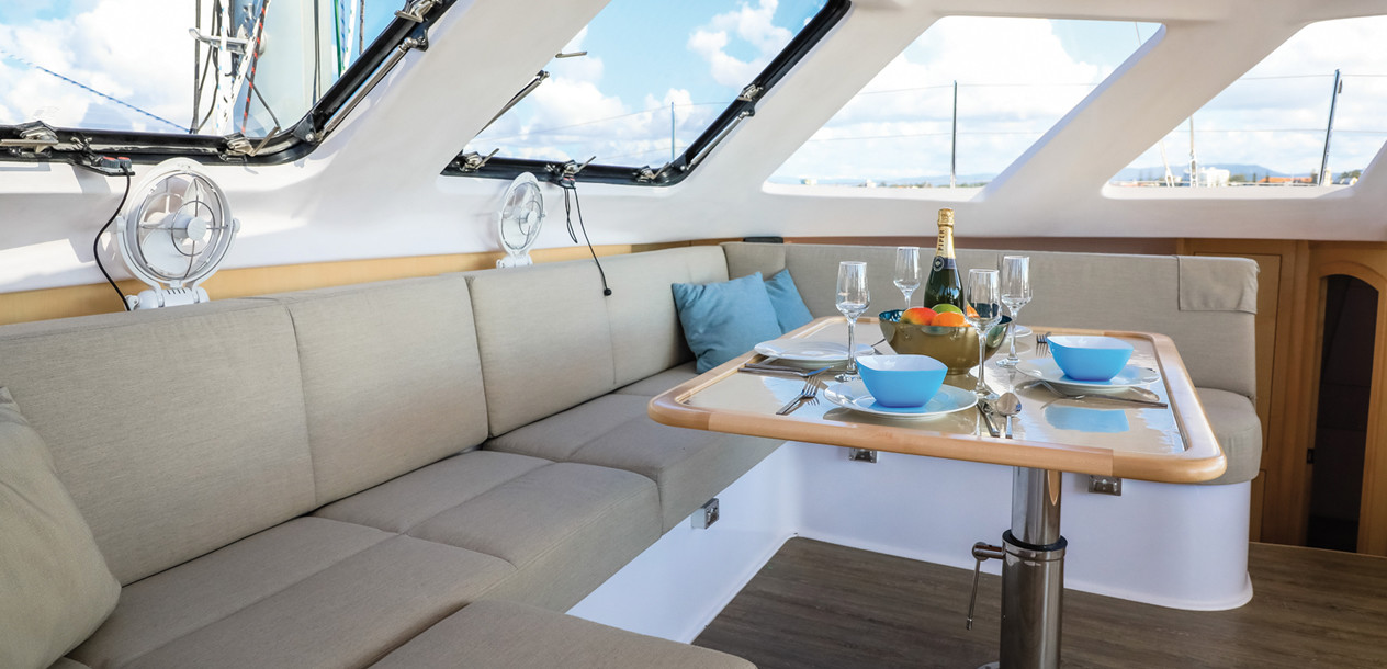 The Seawind 1260 now offers a galley in one hull, or in the nacelle.
