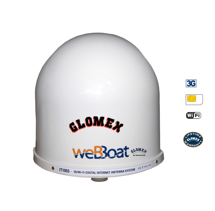 The Glomex aerial from Webboat has four aerials inside its housing. Its size, 25 cm in diameter, and its weight, 1.2 kg, allow it to be fixed in the rigging, but height is not of prime importance for good reception.