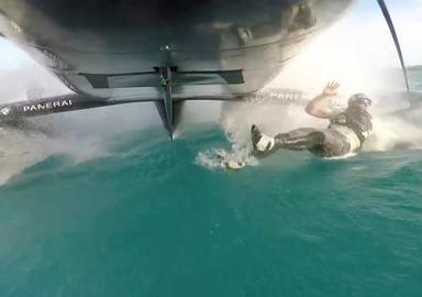 Man overboard on America's Cup catamaran...