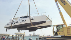 The first Xquisite X5 catamaran is in the water