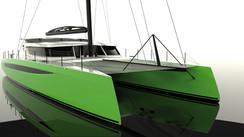 Catamaran HH66, le no 1 est à l'eau