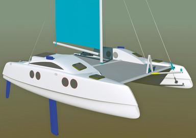 Kurt Hugues 27' catamaran, powerful and transportable
