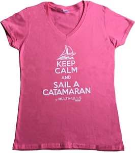 T-SHIRT WOMAN KEEP CALM AND SAIL A CAT
